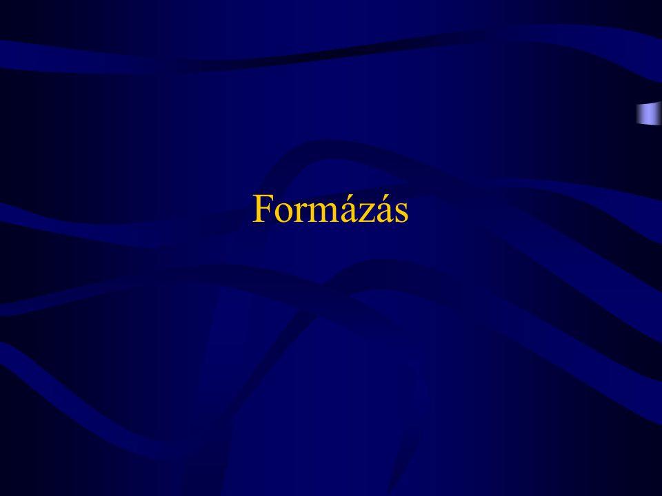 Word dokumentum szintjei •Karakter (character) •Paragrafus (paragraph) (végjele: ¶) •Szakasz (section) (végjele: ::::::::::::::) •Dokumentum állomány (document file) •Fődukumentum (master document) hierarchikusan egymásra épülő egységek
