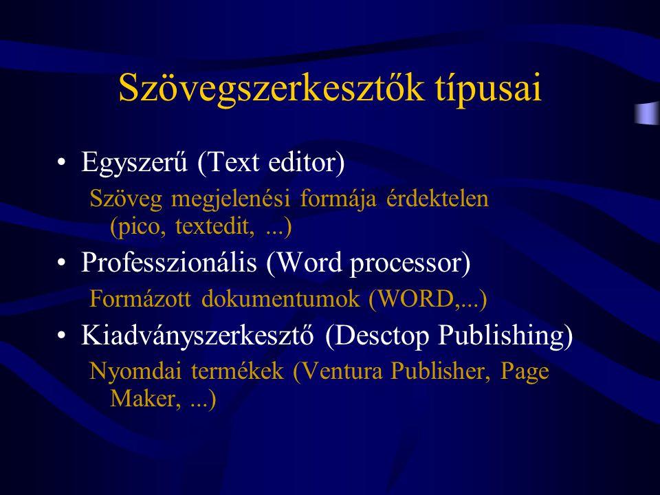 Szövegszerkesztők szolgáltatásai •Szerkesztés (tartalom) Minden szövegszerkesztő támogatja •Formázás (megjelenési forma) Professzionális szövegszerkesztő támogatja •Speciális Professzionális szövegszerkesztők extra szolgáltatásai
