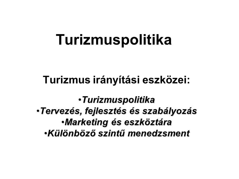Turizmuspolitika Turizmus irányítási eszközei: •Turizmuspolitika •Tervezés, fejlesztés és szabályozás •Marketing és eszköztára •Különböző szintű menedzsment