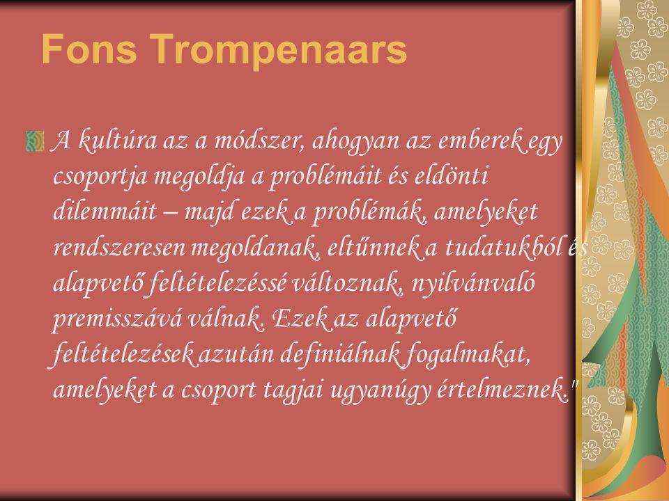 Fons Trompenaars A kultúra az a módszer, ahogyan az emberek egy csoportja megoldja a problémáit és eldönti dilemmáit – majd ezek a problémák, amelyeke
