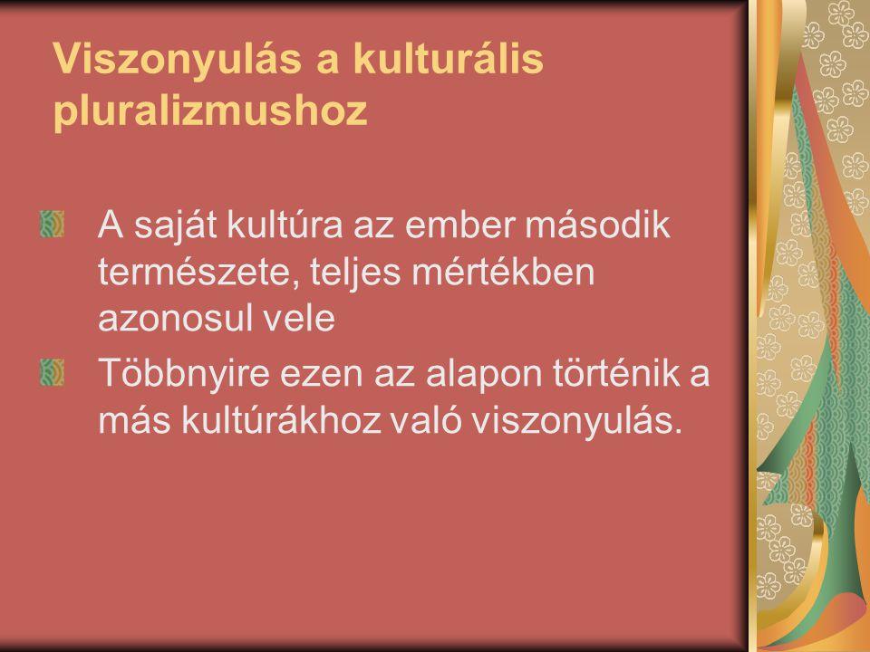 Viszonyulás a kulturális pluralizmushoz A saját kultúra az ember második természete, teljes mértékben azonosul vele Többnyire ezen az alapon történik