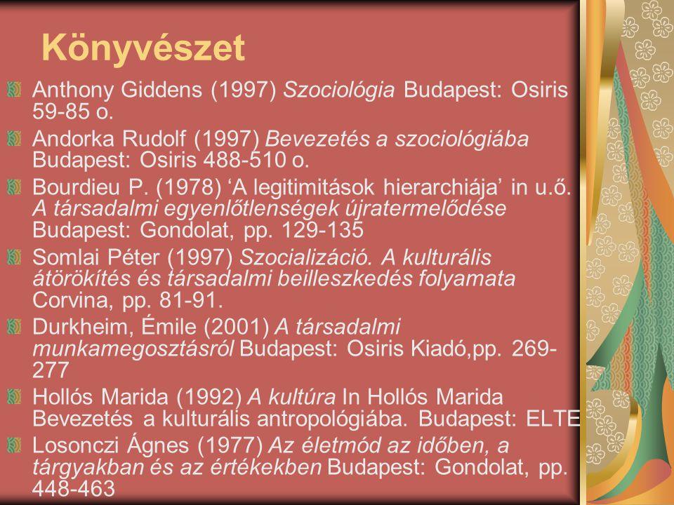 Könyvészet Anthony Giddens (1997) Szociológia Budapest: Osiris 59-85 o. Andorka Rudolf (1997) Bevezetés a szociológiába Budapest: Osiris 488-510 o. Bo