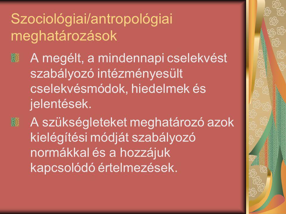 Szociológiai/antropológiai meghatározások A megélt, a mindennapi cselekvést szabályozó intézményesült cselekvésmódok, hiedelmek és jelentések. A szüks