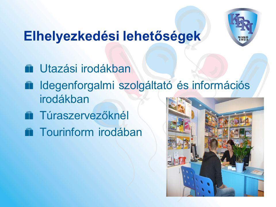 Elhelyezkedési lehetőségek  Utazási irodákban  Idegenforgalmi szolgáltató és információs irodákban  Túraszervezőknél  Tourinform irodában