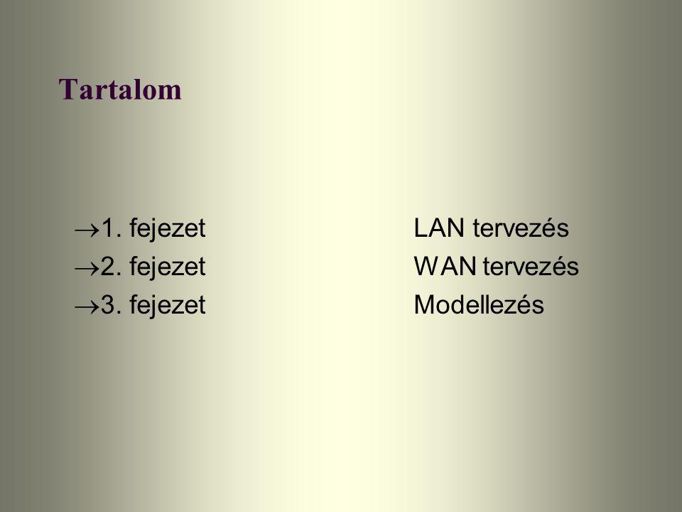 A WAN összeköttetések sebessége és fejlesztési lehetőségei Internet kapcsolat: T1 Frame Relay Flexibilis - CIR tűlléphető (többletlöket), mikor a szolgáltató kapacitása lehetővé teszi Skálázható - többszörös PVC használatával, vagy a CIR növelésével Központi mag összeköttetések: 4 db T1 bérelt vonal a regionáis hubok között T1 bérelt vonal - magas megbízhatóságú, dedikált sávszélességet biztosít - költsége alacsonyabb, mint más T1 sebességű altarnatíváé a későbbiekben T3 adatvonalra lecserélhetők (T1 és T3 vagy E1 és E3 valamilyen kombinációja is szóba jöhet) Összeköttetés a regionális központok és az iskolák között: T1 vona a későbbiekben T3 (vagy E3) adatvonalra lecserélhetők ISDN backup ISDN BRI hub használatát igényli a regionális központban, az összes iskolát kiszolgálni
