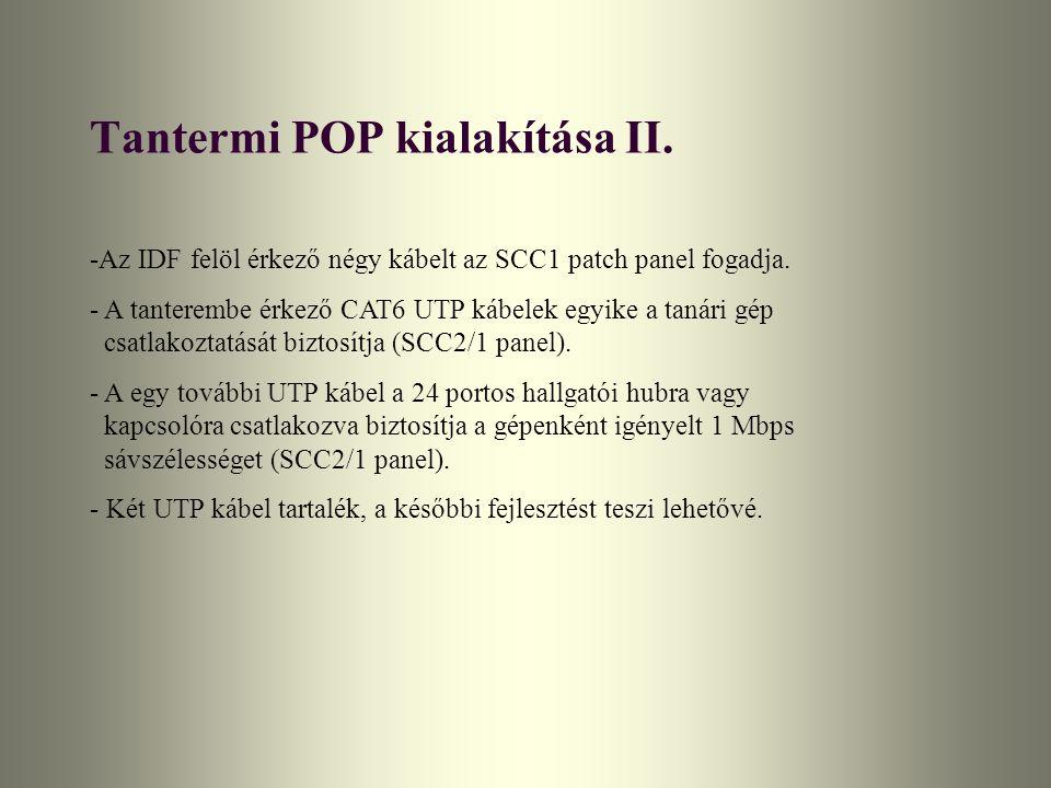 Tantermi POP kialakítása II. -Az IDF felöl érkező négy kábelt az SCC1 patch panel fogadja. - A tanterembe érkező CAT6 UTP kábelek egyike a tanári gép