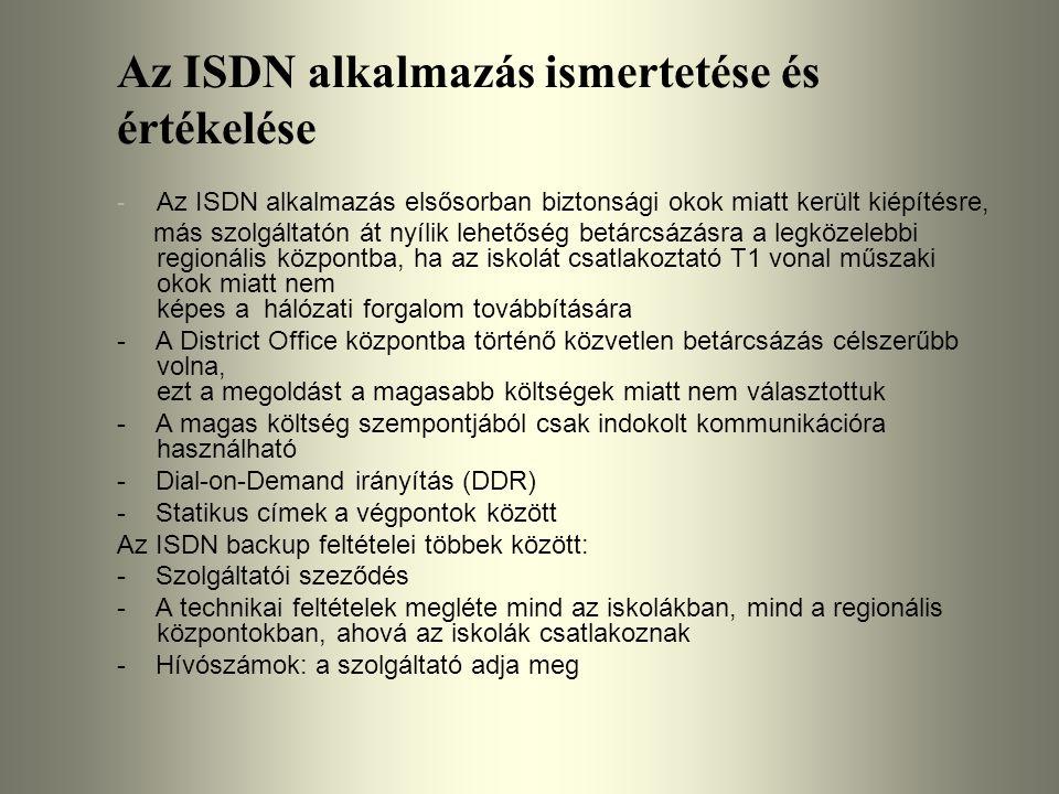 Az ISDN alkalmazás ismertetése és értékelése - Az ISDN alkalmazás elsősorban biztonsági okok miatt került kiépítésre, más szolgáltatón át nyílik lehet