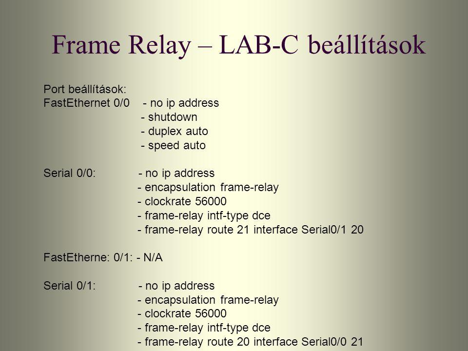 Frame Relay – LAB-C beállítások Port beállítások: FastEthernet 0/0 - no ip address - shutdown - duplex auto - speed auto Serial 0/0: - no ip address -
