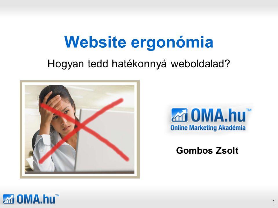 1 Website ergonómia Hogyan tedd hatékonnyá weboldalad? Gombos Zsolt