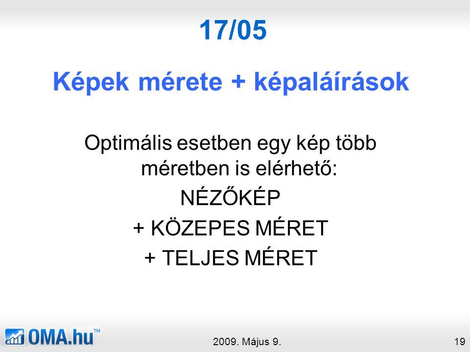 17/05 Képek mérete + képaláírások 2009.