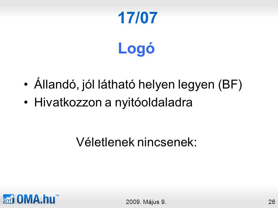 17/07 Logó 2009.