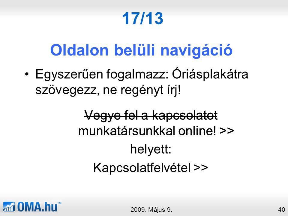 17/13 Oldalon belüli navigáció 2009.