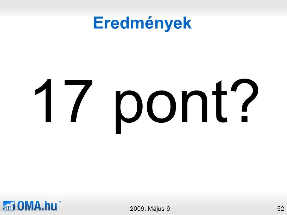 Eredmények 2009. Május 9.52 17 pont?