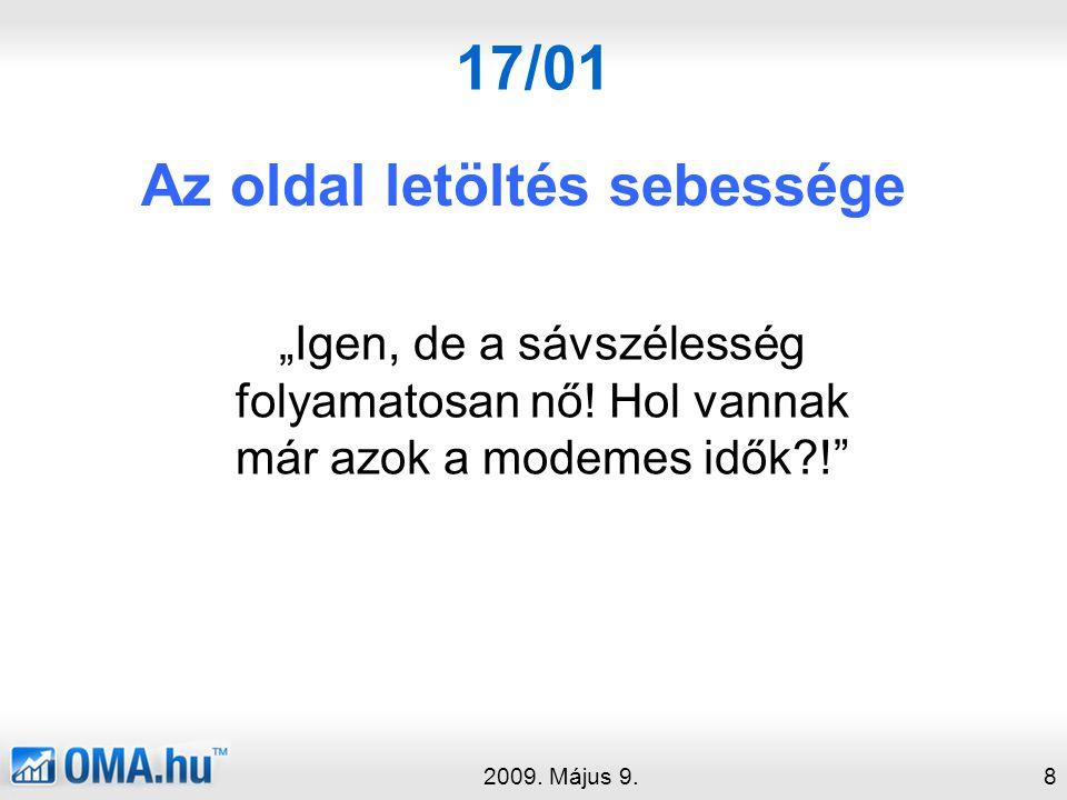 """17/01 Az oldal letöltés sebessége 2009.Május 9.8 """"Igen, de a sávszélesség folyamatosan nő."""