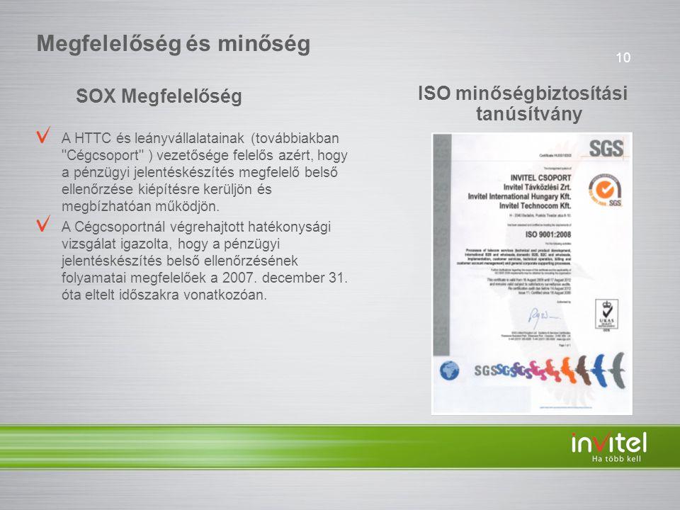10 Megfelelőség és minőség ISO minőségbiztosítási tanúsítvány SOX Megfelelőség A HTTC és leányvállalatainak (továbbiakban Cégcsoport ) vezetősége felelős azért, hogy a pénzügyi jelentéskészítés megfelelő belső ellenőrzése kiépítésre kerüljön és megbízhatóan működjön.