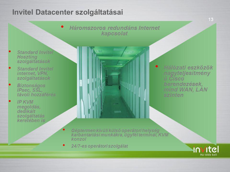 13 Invitel Datacenter szolgáltatásai • Standard Invitel Hoszting szolgáltatások • Standard Invitel internet, VPN, szolgáltatások • Biztonságos IPsec, SSL, távoli hozzáférés • IP KVM megoldás, dedikált szolgáltatás keretében is • Háromszoros redundáns Internet kapcsolat • Hálózati eszközök nagyteljesítmény ű Cisco berendezések, mind WAN, LAN szinten • Géptermen kívüli külső operátori helység karbantartási munkákra, ügyfél terminál, KVM konzol • 24/7-es operátori szolgálat