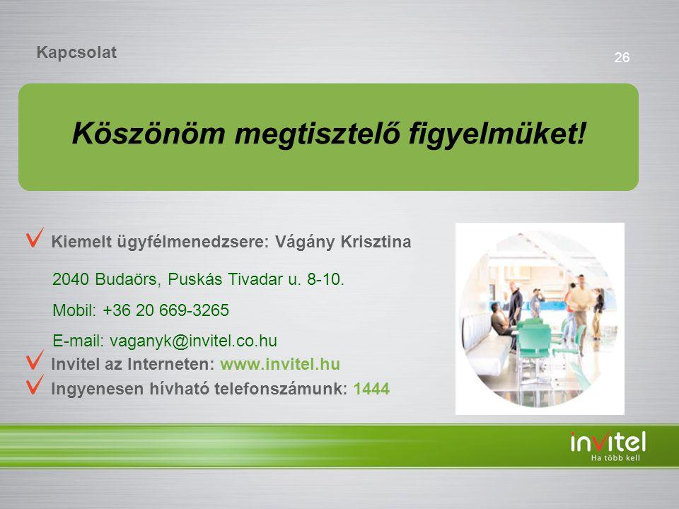 26 Kapcsolat Kiemelt ügyfélmenedzsere: Vágány Krisztina Invitel az Interneten: www.invitel.hu Ingyenesen hívható telefonszámunk: 1444 2040 Budaörs, Puskás Tivadar u.