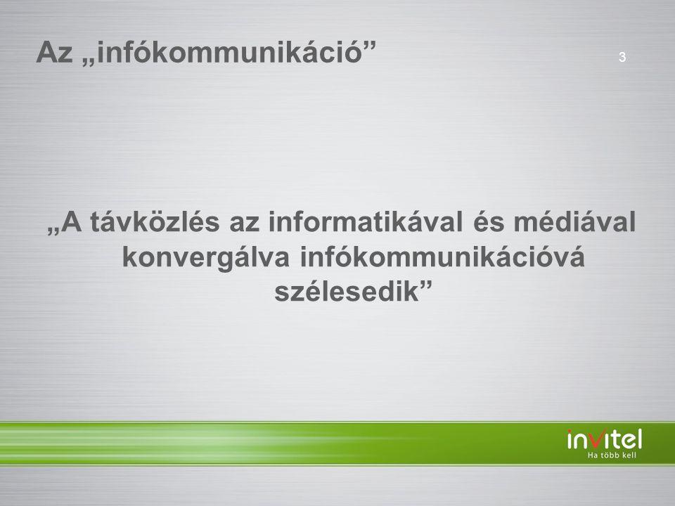 """3 Az """"infókommunikáció """"A távközlés az informatikával és médiával konvergálva infókommunikációvá szélesedik"""
