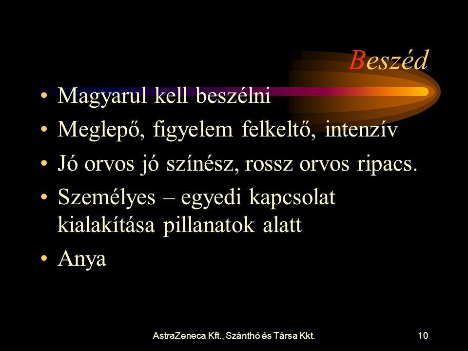 AstraZeneca Kft., Szánthó és Társa Kkt.10 Beszéd •Magyarul kell beszélni •Meglepő, figyelem felkeltő, intenzív •Jó orvos jó színész, rossz orvos ripacs.