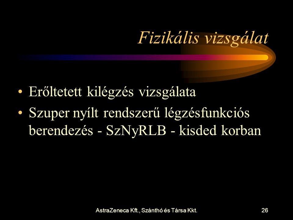 AstraZeneca Kft., Szánthó és Társa Kkt.26 Fizikális vizsgálat •Erőltetett kilégzés vizsgálata •Szuper nyílt rendszerű légzésfunkciós berendezés - SzNyRLB - kisded korban