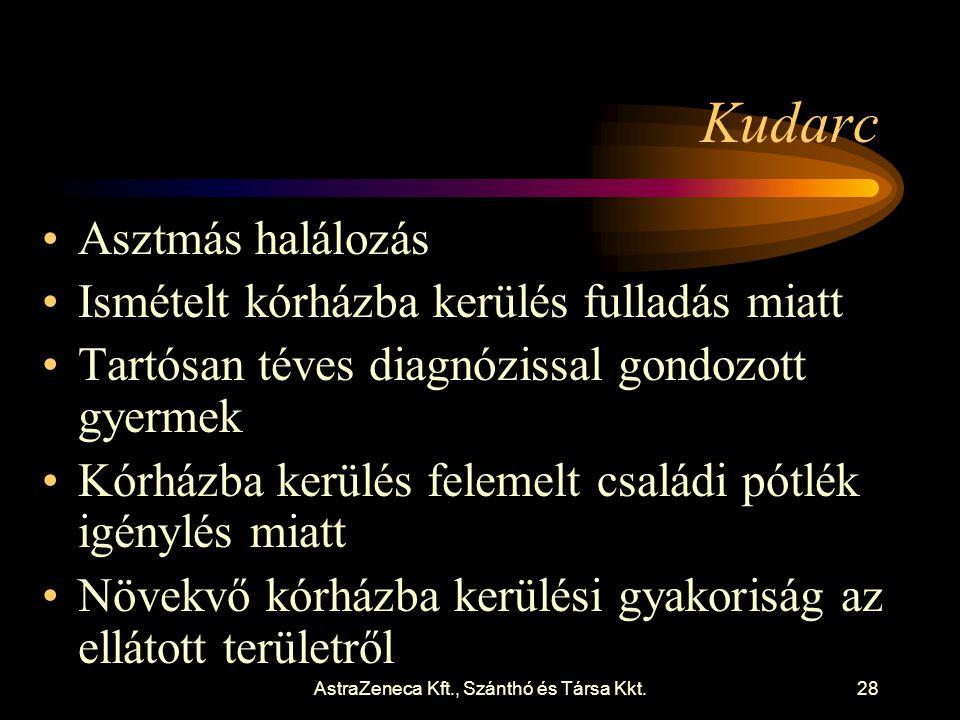 AstraZeneca Kft., Szánthó és Társa Kkt.28 Kudarc •Asztmás halálozás •Ismételt kórházba kerülés fulladás miatt •Tartósan téves diagnózissal gondozott gyermek •Kórházba kerülés felemelt családi pótlék igénylés miatt •Növekvő kórházba kerülési gyakoriság az ellátott területről