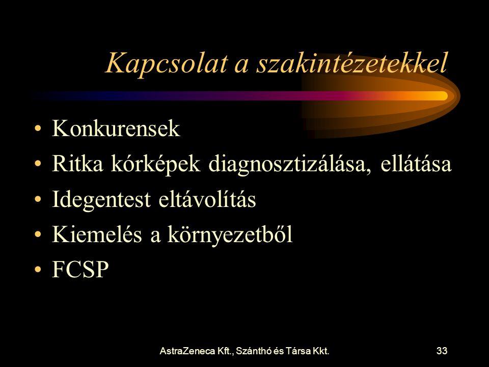 AstraZeneca Kft., Szánthó és Társa Kkt.33 Kapcsolat a szakintézetekkel •Konkurensek •Ritka kórképek diagnosztizálása, ellátása •Idegentest eltávolítás •Kiemelés a környezetből •FCSP