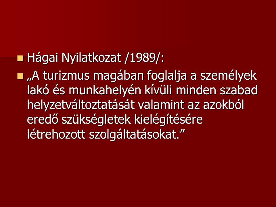 """ Hágai Nyilatkozat /1989/:  """"A turizmus magában foglalja a személyek lakó és munkahelyén kívüli minden szabad helyzetváltoztatását valamint az azokb"""