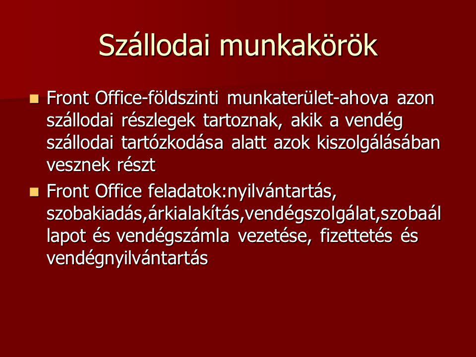 Szállodai munkakörök  Front Office-földszinti munkaterület-ahova azon szállodai részlegek tartoznak, akik a vendég szállodai tartózkodása alatt azok