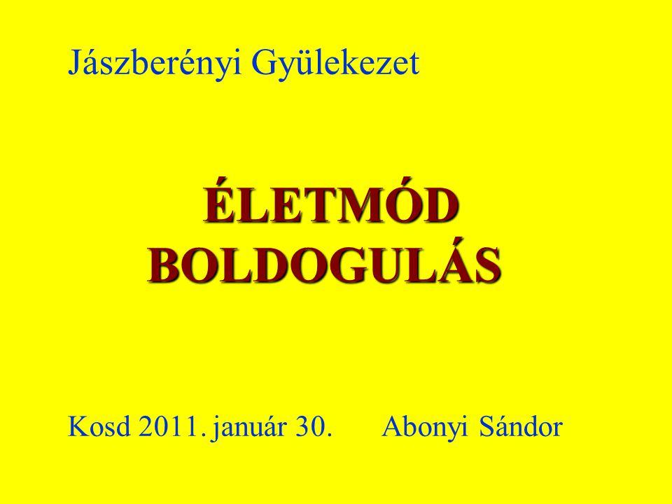 ÉLETMÓD BOLDOGULÁS Jászberényi Gyülekezet ÉLETMÓD BOLDOGULÁS Kosd 2011. január 30. Abonyi Sándor