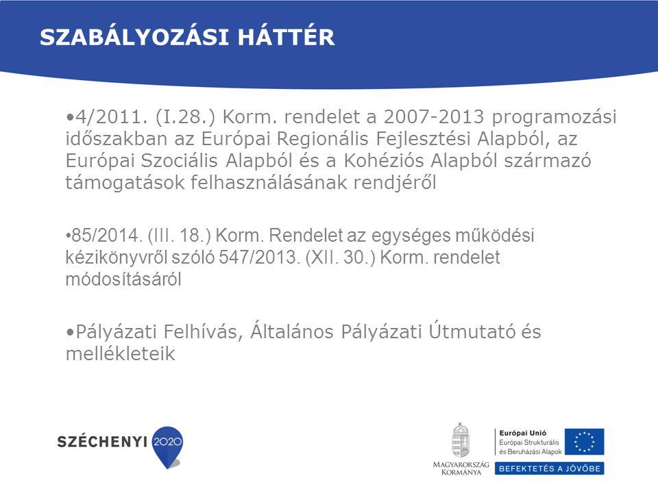 SZABÁLYOZÁSI HÁTTÉR •4/2011. (I.28.) Korm. rendelet a 2007-2013 programozási időszakban az Európai Regionális Fejlesztési Alapból, az Európai Szociáli