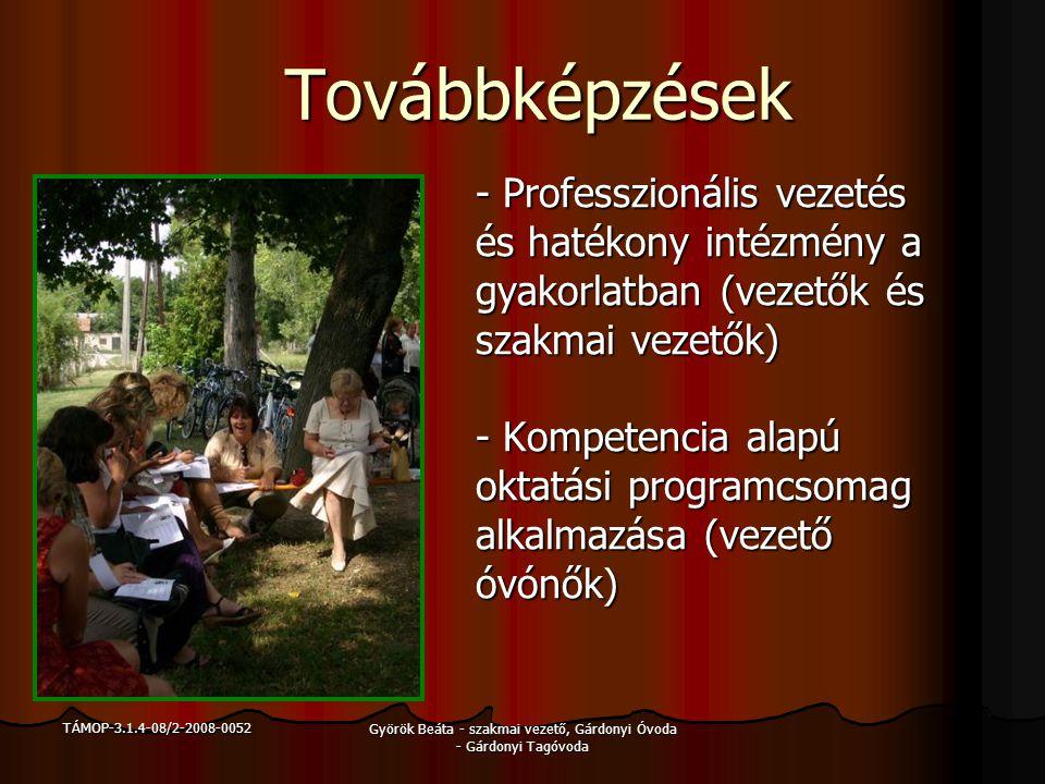TÁMOP-3.1.4-08/2-2008-0052 Györök Beáta - szakmai vezető, Gárdonyi Óvoda - Gárdonyi Tagóvoda Továbbképzések - Hatékony tanulói– megismerési- és segítő technikák (bevezető óvónők és szakmai vezetők) - Óvoda-iskola átmenet (bevezető óvónők) - IPR – Vereb 2 fő
