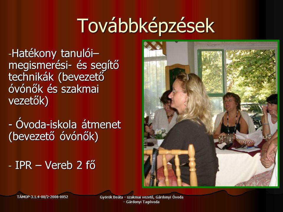 TÁMOP-3.1.4-08/2-2008-0052 Györök Beáta - szakmai vezető, Gárdonyi Óvoda - Gárdonyi Tagóvoda Továbbképzések - Digitális taneszközök használata a mindennapi oktatásban (bevezető óvónők és óvodavezetők részére) -SNI továbbképzés – mind a 4 óvodából 1-1 óvónő
