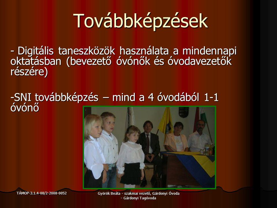TÁMOP-3.1.4-08/2-2008-0052 Györök Beáta - szakmai vezető, Gárdonyi Óvoda - Gárdonyi Tagóvoda Továbbképzések - Digitális taneszközök használata a minde
