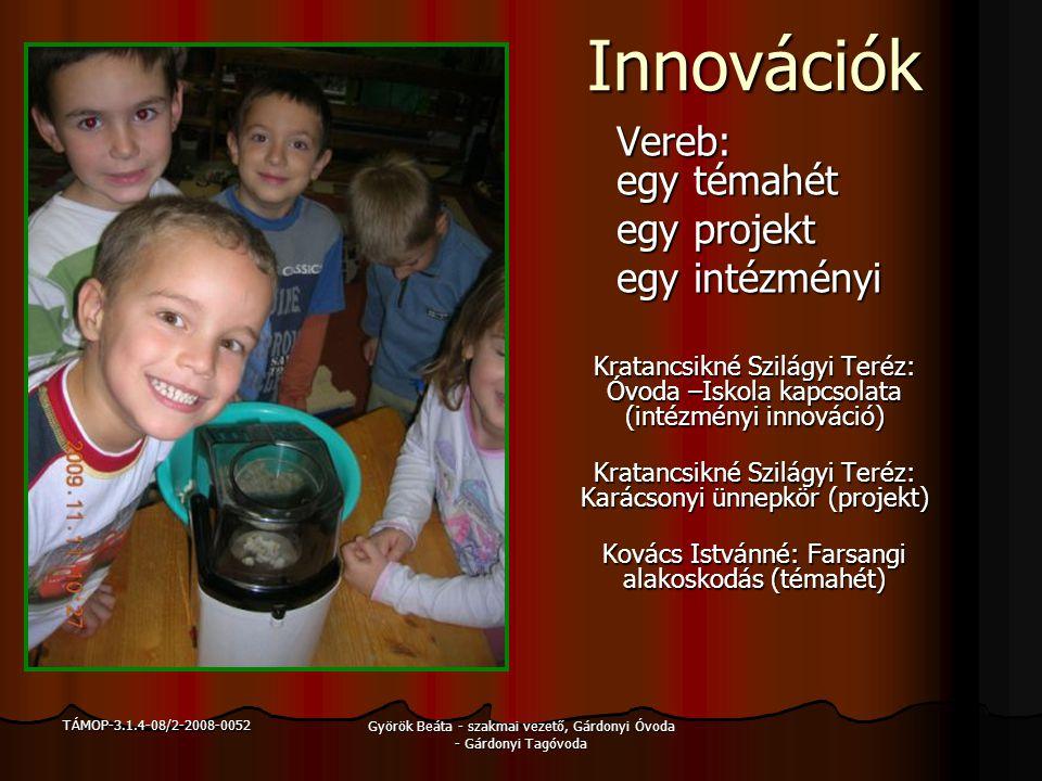 TÁMOP-3.1.4-08/2-2008-0052 Györök Beáta - szakmai vezető, Gárdonyi Óvoda - Gárdonyi Tagóvoda Innovációk Innovációk Agárd: két témahét egy projekt egy intézményi Vitányiné Horváth Ildikó: A föld gyermekei (projekt) Komlósi Ágnes: A család és az óvoda együttműködésének lehetőségei, formái (intézményi innováció) Simon Katalin: A Sün (témahét) Várkonyi-Mészáros Ottilia: Közvetlen környezetünk a Velencei-tó (témahét) Gartainé Mérőfi Ilona: Gárdonyi Óvoda Helyi Nevelési Programja
