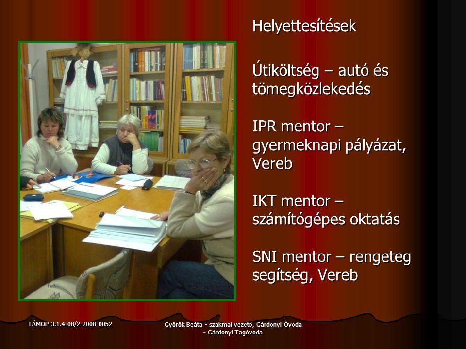 TÁMOP-3.1.4-08/2-2008-0052 Györök Beáta - szakmai vezető, Gárdonyi Óvoda - Gárdonyi Tagóvoda Helyettesítések Útiköltség – autó és tömegközlekedés IPR