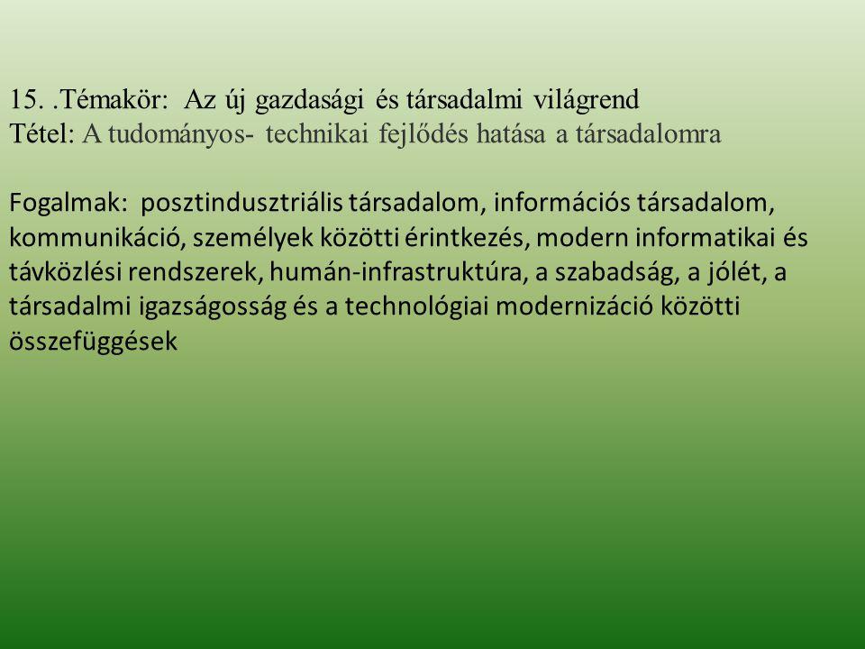 15..Témakör: Az új gazdasági és társadalmi világrend Tétel: A tudományos- technikai fejlődés hatása a társadalomra Fogalmak: posztindusztriális társad