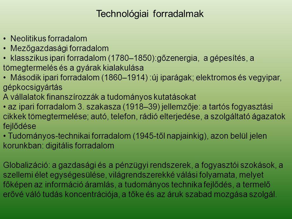 • Neolitikus forradalom • Mezőgazdasági forradalom • klasszikus ipari forradalom (1780–1850):gőzenergia, a gépesítés, a tömegtermelés és a gyárak kial