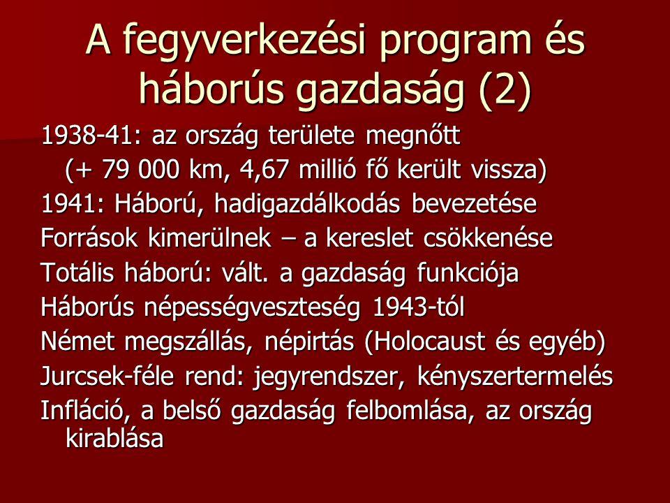 A fegyverkezési program és háborús gazdaság (2) 1938-41: az ország területe megnőtt (+ 79 000 km, 4,67 millió fő került vissza) (+ 79 000 km, 4,67 mil