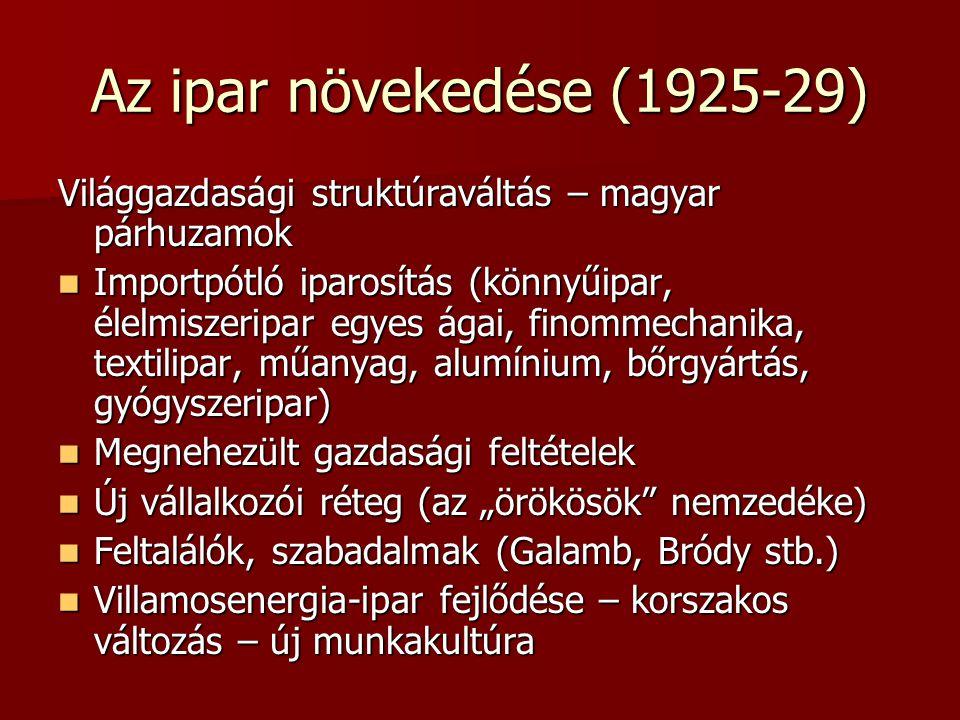 Az ipar növekedése (1925-29) Világgazdasági struktúraváltás – magyar párhuzamok  Importpótló iparosítás (könnyűipar, élelmiszeripar egyes ágai, finom