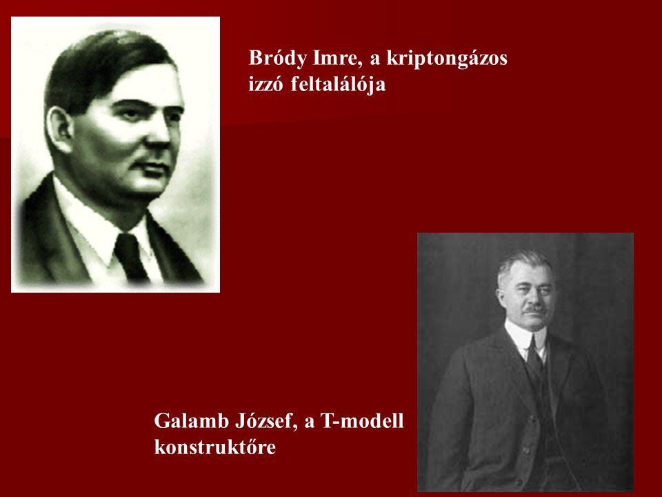 Bródy Imre, a kriptongázos izzó feltalálója Galamb József, a T-modell konstruktőre