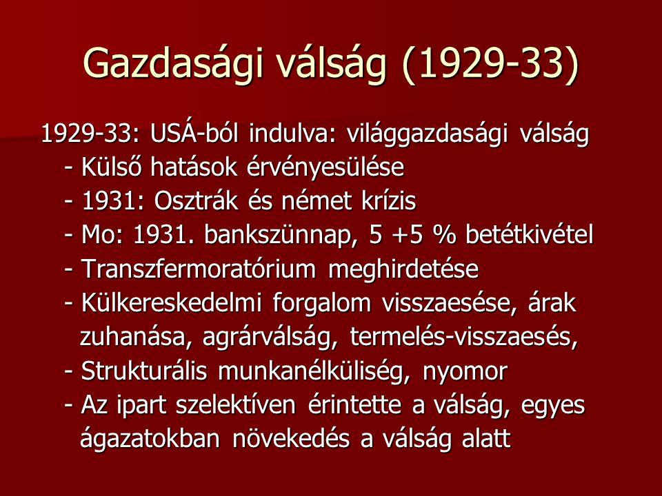 Gazdasági válság (1929-33) 1929-33: USÁ-ból indulva: világgazdasági válság - Külső hatások érvényesülése - Külső hatások érvényesülése - 1931: Osztrák