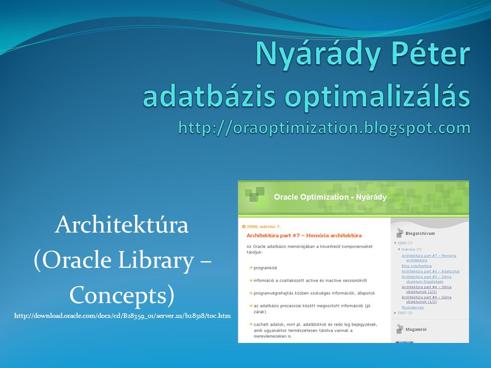 Architektúra (Oracle Library – Concepts) http://download.oracle.com/docs/cd/B28359_01/server.111/b28318/toc.htm