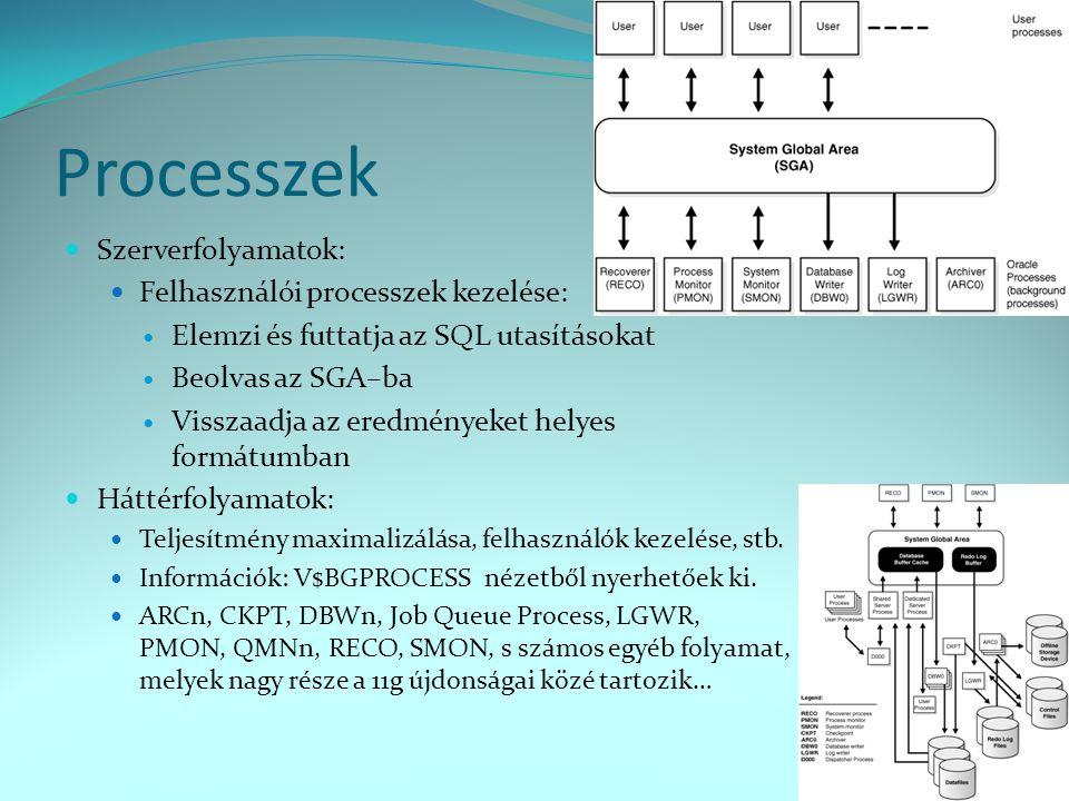 Processzek  Szerverfolyamatok:  Felhasználói processzek kezelése:  Elemzi és futtatja az SQL utasításokat  Beolvas az SGA–ba  Visszaadja az eredm