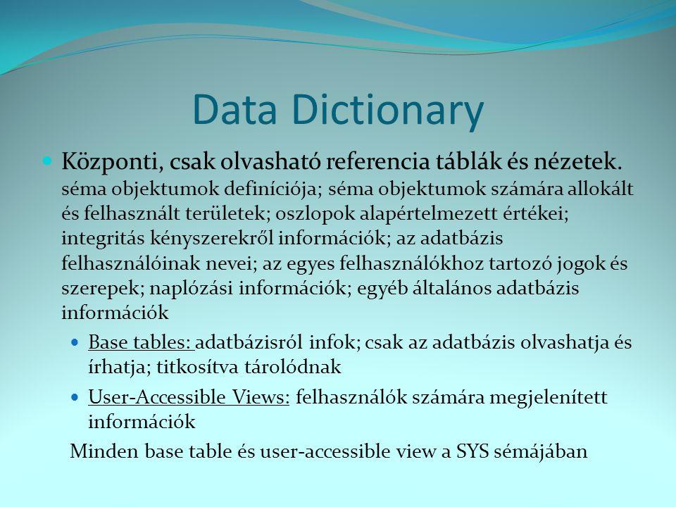 Data Dictionary  Központi, csak olvasható referencia táblák és nézetek. séma objektumok definíciója; séma objektumok számára allokált és felhasznált