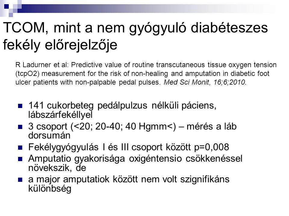TCOM, mint a nem gyógyuló diabéteszes fekély előrejelzője  141 cukorbeteg pedálpulzus nélküli páciens, lábszárfekéllyel  3 csoport (<20; 20-40; 40 Hgmm<) – mérés a láb dorsumán  Fekélygyógyulás I és III csoport között p=0,008  Amputatio gyakorisága oxigéntensio csökkenéssel növekszik, de  a major amputatiok között nem volt szignifikáns különbség R Ladurner et al: Predictive value of routine transcutaneous tissue oxygen tension (tcpO2) measurement for the risk of non-healing and amputation in diabetic foot ulcer patients with non-palpable pedal pulses.