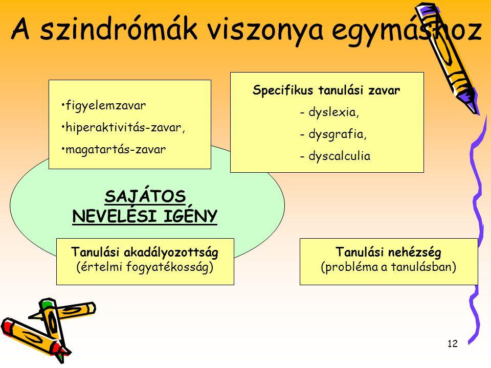 12 SAJÁTOS NEVELÉSI IGÉNY Tanulási akadályozottság (értelmi fogyatékosság) Tanulási nehézség (probléma a tanulásban) Specifikus tanulási zavar - dysle