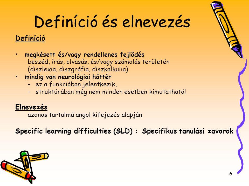 6 Definíció és elnevezés Definíció •megkésett és/vagy rendellenes fejlődés beszéd, írás, olvasás, és/vagy számolás területén (diszlexia, diszgráfia, d