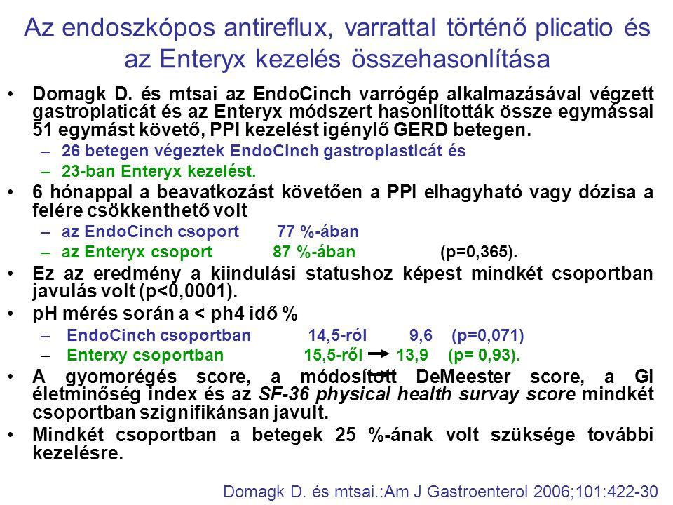 •Domagk D. és mtsai az EndoCinch varrógép alkalmazásával végzett gastroplaticát és az Enteryx módszert hasonlították össze egymással 51 egymást követő