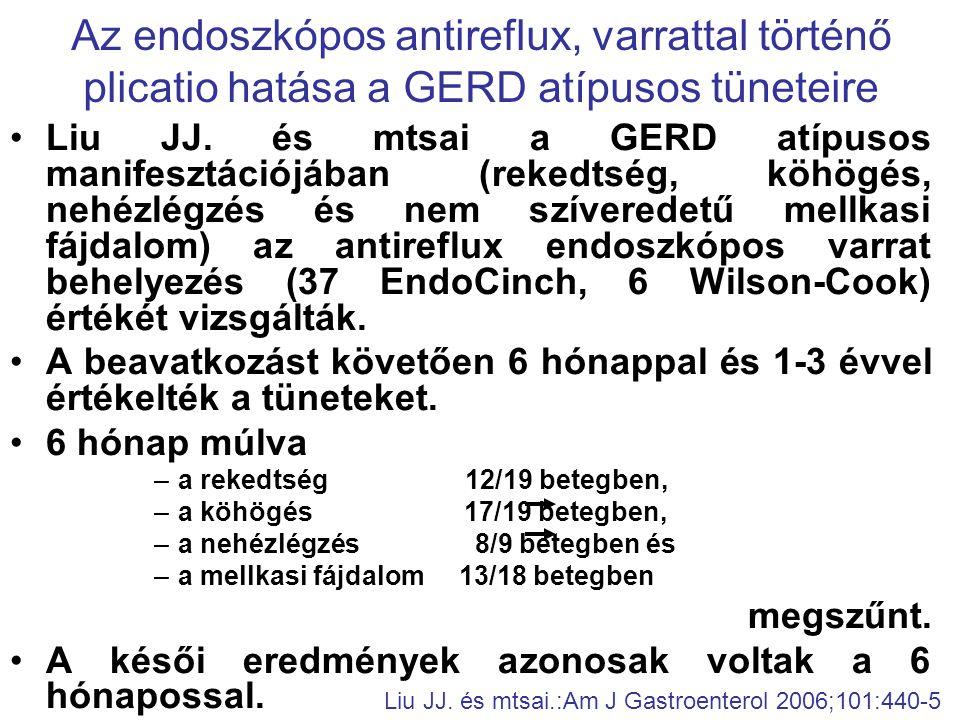 •Liu JJ. és mtsai a GERD atípusos manifesztációjában (rekedtség, köhögés, nehézlégzés és nem szíveredetű mellkasi fájdalom) az antireflux endoszkópos