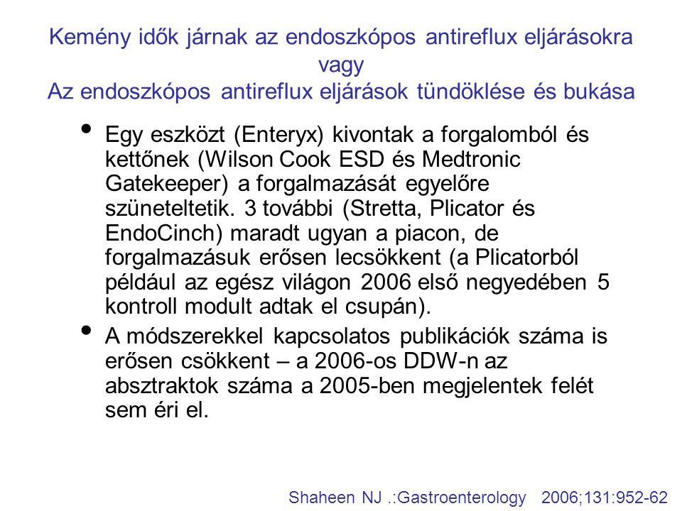 Kemény idők járnak az endoszkópos antireflux eljárásokra vagy Az endoszkópos antireflux eljárások tündöklése és bukása • Egy eszközt (Enteryx) kivonta